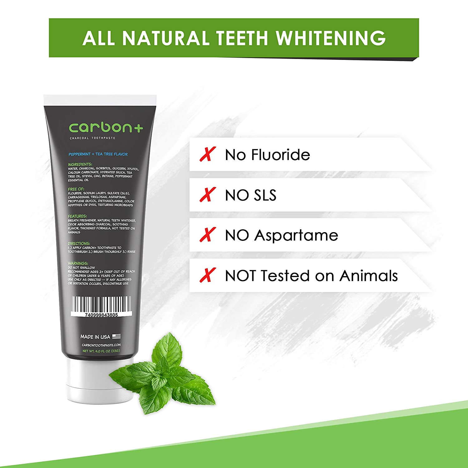 Charcoal Teeth Whitening Toothpaste Activated - All Natural Black Fluoride  Free Tooth Whitener Paste