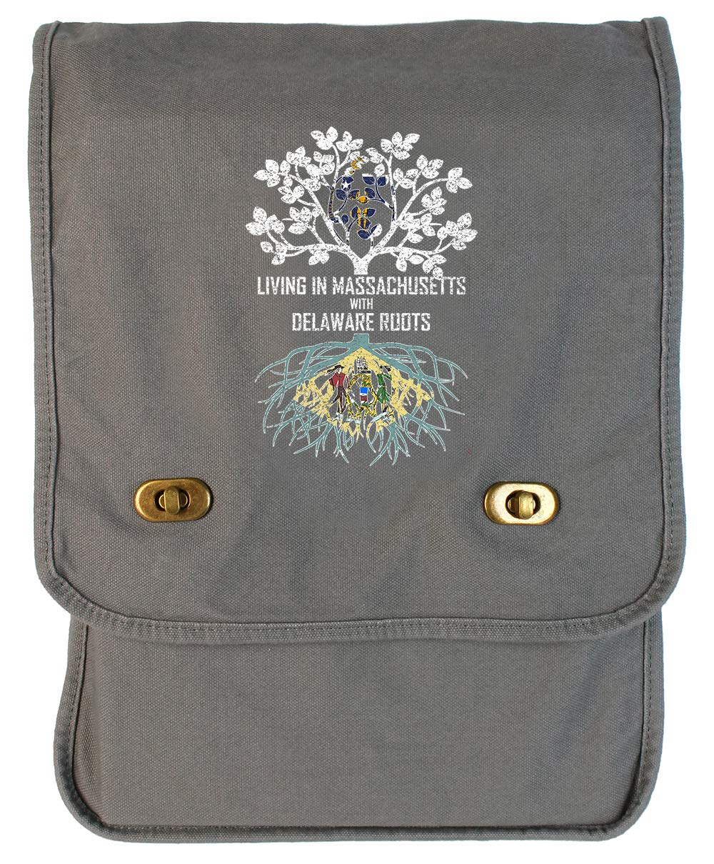 Tenacitee Living In Massachusetts with Delaware Roots Grey Brushed Canvas Messenger Bag