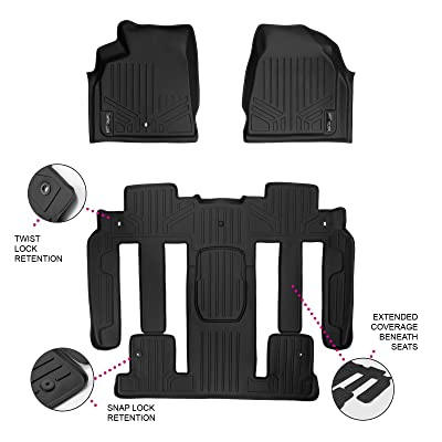 MAXLINER Floor Mats 2 Row Liner Set Black for Traverse/Enclave/Acadia/Outlook (with 2nd Row Bucket Seats): Automotive