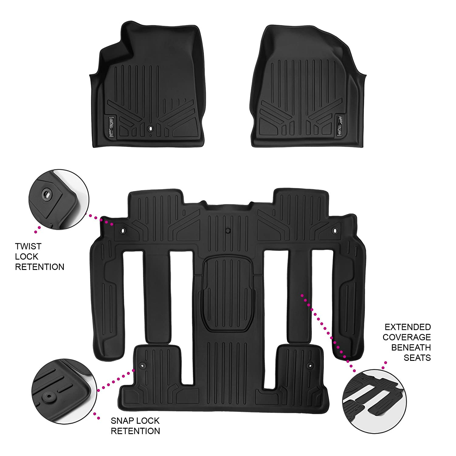MAXLINER Floor Mats 2 Row Liner Set Black for Traverse/Enclave/Acadia/Outlook (with 2nd Row Bucket Seats)
