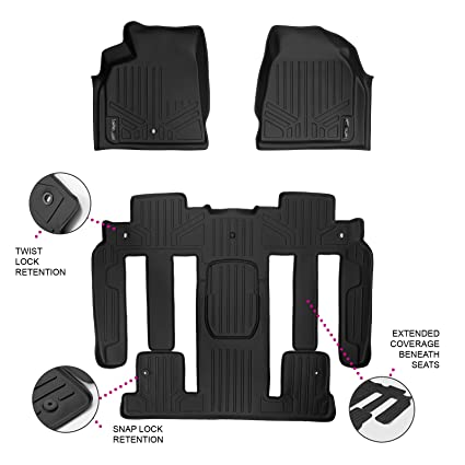 Amazon.com: MAX LINER A0043/B0044-P MAXFLOORMAT Floor Mats for Traverse/Enclave/Acadia/Outlook Bucket Seat Complete Premium Set (Black): Automotive