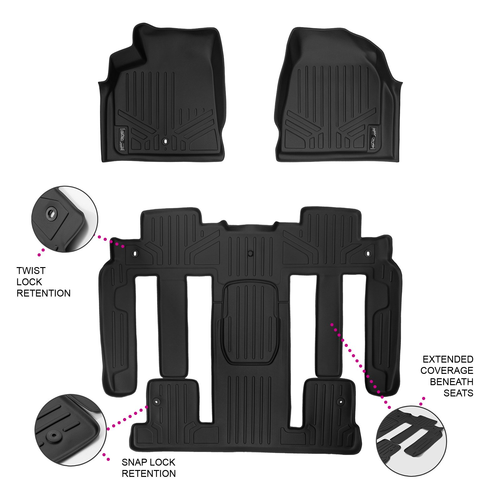 SMARTLINER Floor Mats 2 Row Liner Set Black for Traverse/Enclave/Acadia/Outlook (with 2nd Row Bucket Seats)