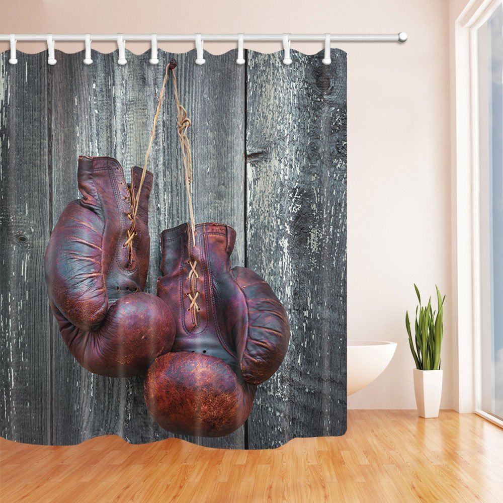 SZDR sports equipment decorative shower curtain, Thai boxing gloves.bathroom accessories, 69X70 inches, perfect anti-mildew polyester fabric shower curtain by SZDR