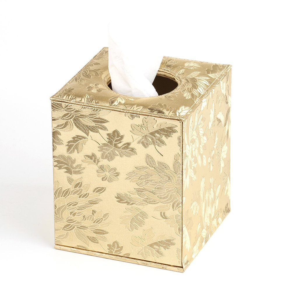 YJY 6(16cm) Shiny Gold Tissue Holder Box Cover - Decorative Roll Facial Paper Dispenser Case for Bathroom Toilet Kitchen Office Car - Square(04 Gold Leaf)