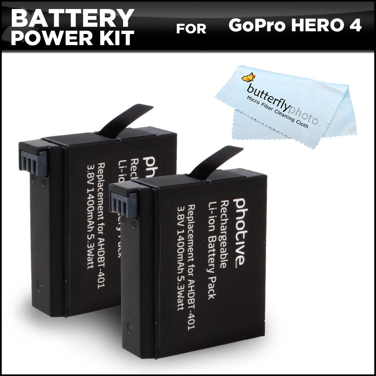 2 Pack Kit de alimentación recargable para Hero4 batería para ...