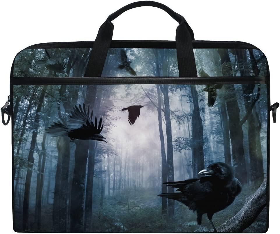 JSTEL Crows in The Fores Laptop Shoulder Messenger Bag Case Sleeve for 14 inch to 15.6 inch with Adjustable Notebook Shoulder Strap