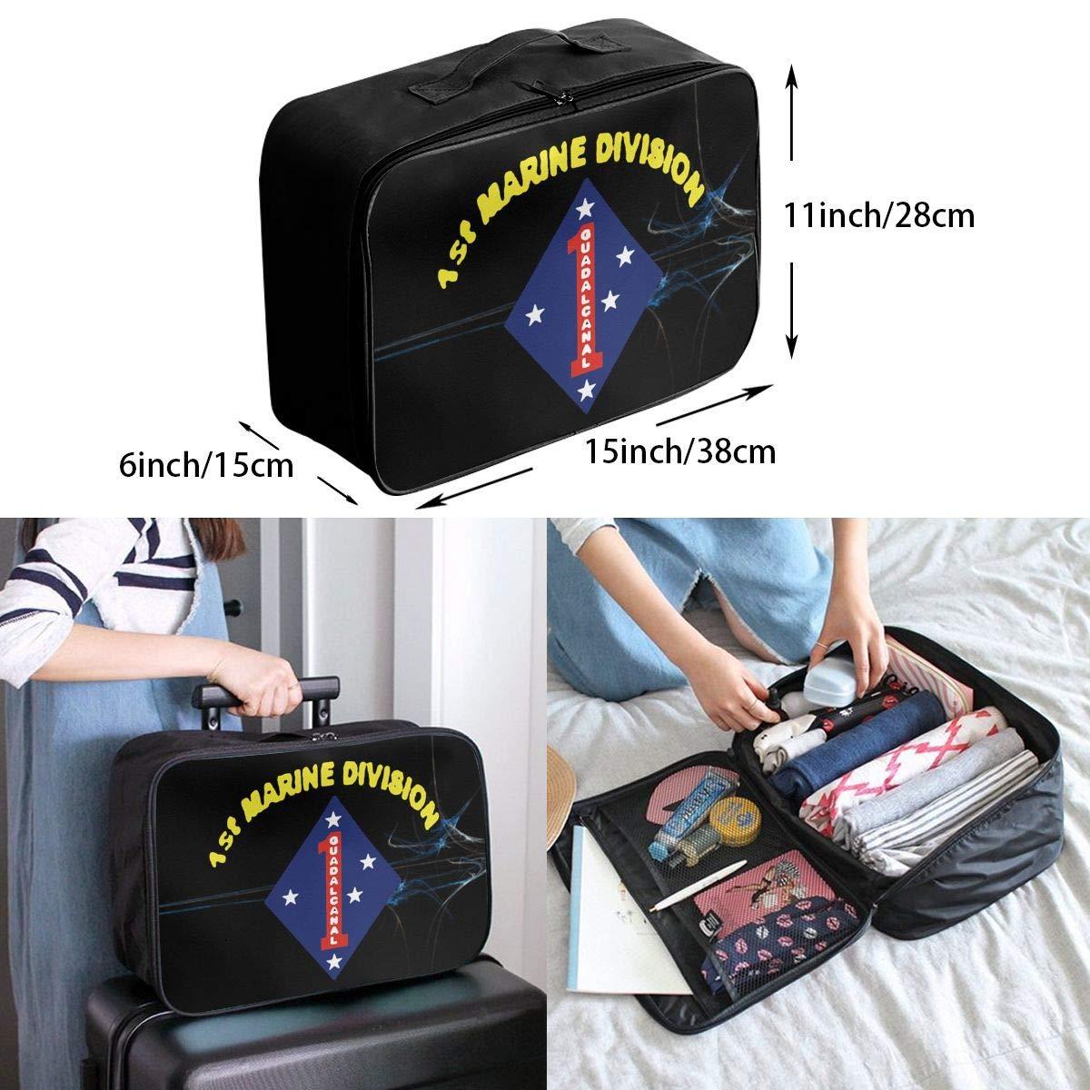 Unisex Travel Duffel Bag Waterproof Fashion Lightweight Large Capacity Portable Luggage Bag US 1st Marine Division