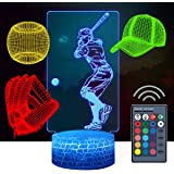 Baseball Toys, Baseball 3D Night Light for Kids (4 Patterns), Gift GRAP, 16-Color Remote Control Color Change, Xmas…