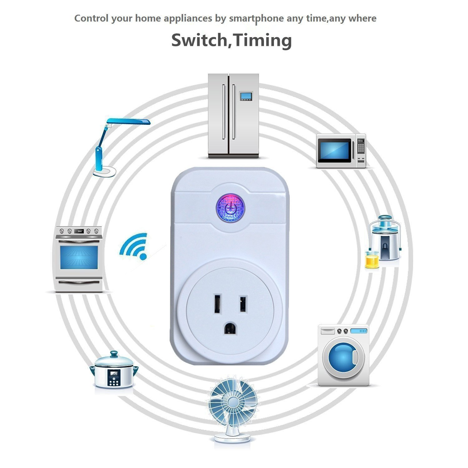SODIAL Smart Home 10A 2000W Timer Wifi Power Socket Plug Smart Phone Remote Wireless Controls IOS Pad Android(US Plug)