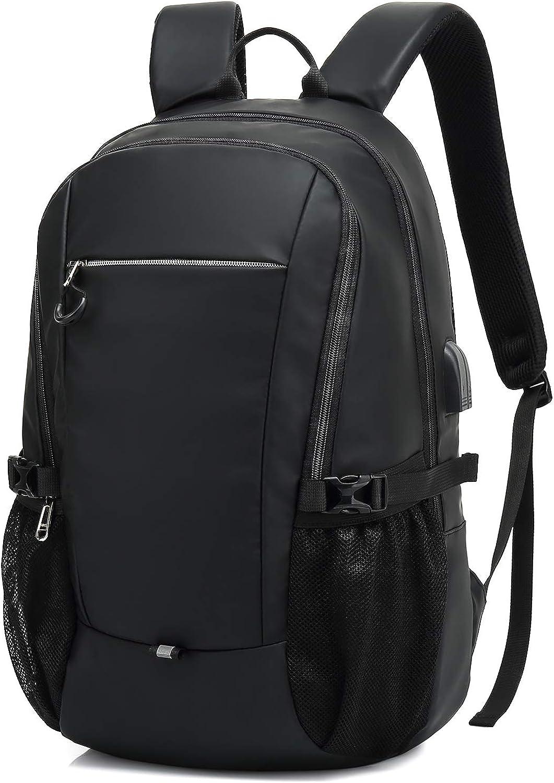 Mochila para portátil de 15,6 pulgadas, con puerto de carga USB y conector para auriculares, para trabajo empresarial, viajes diarios, color negro