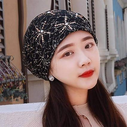 Eeayyygch Sombrero de Mujer Ms Cap Spring Summer Lace Turban Hat Aire Acondicionado Cap sciarpa Hat