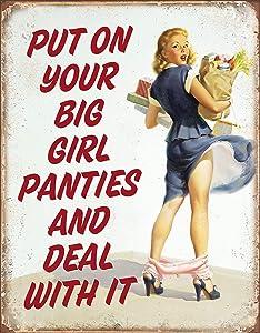 """Desperate Enterprises Big Girl Panties Tin Sign, 12.5"""" W x 16"""" H"""