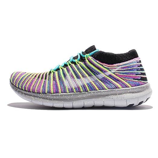 Nike Women's Free Running Motion Flyknit Shoes, Black/White-racer Blue - 8.5