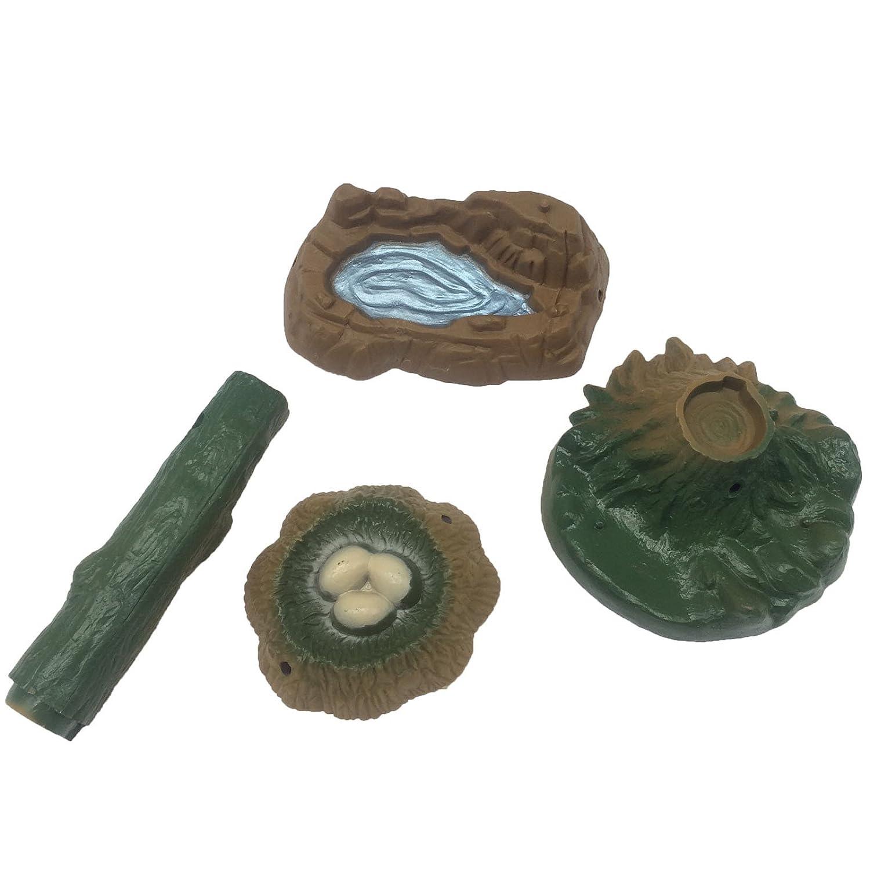 Funshowcase Play Set of Pond, Nest, Tree Stump, Tree Log, Fairy Garden Landscape Miniature Sandbox Toy 1172