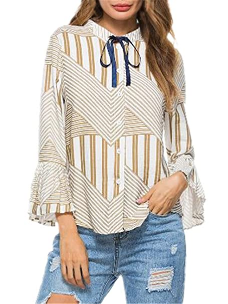 AILIENT Blusa Elegantes Mujer Moda Camiseta Mangas Largas Casual A Rayas Blouses Hipster T Shirt Clasicos