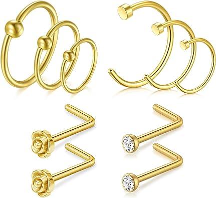 Incaton Nose Rings 20 Gauge Nose Rings Hoop 8mm 10mm 12mm Nose Pin