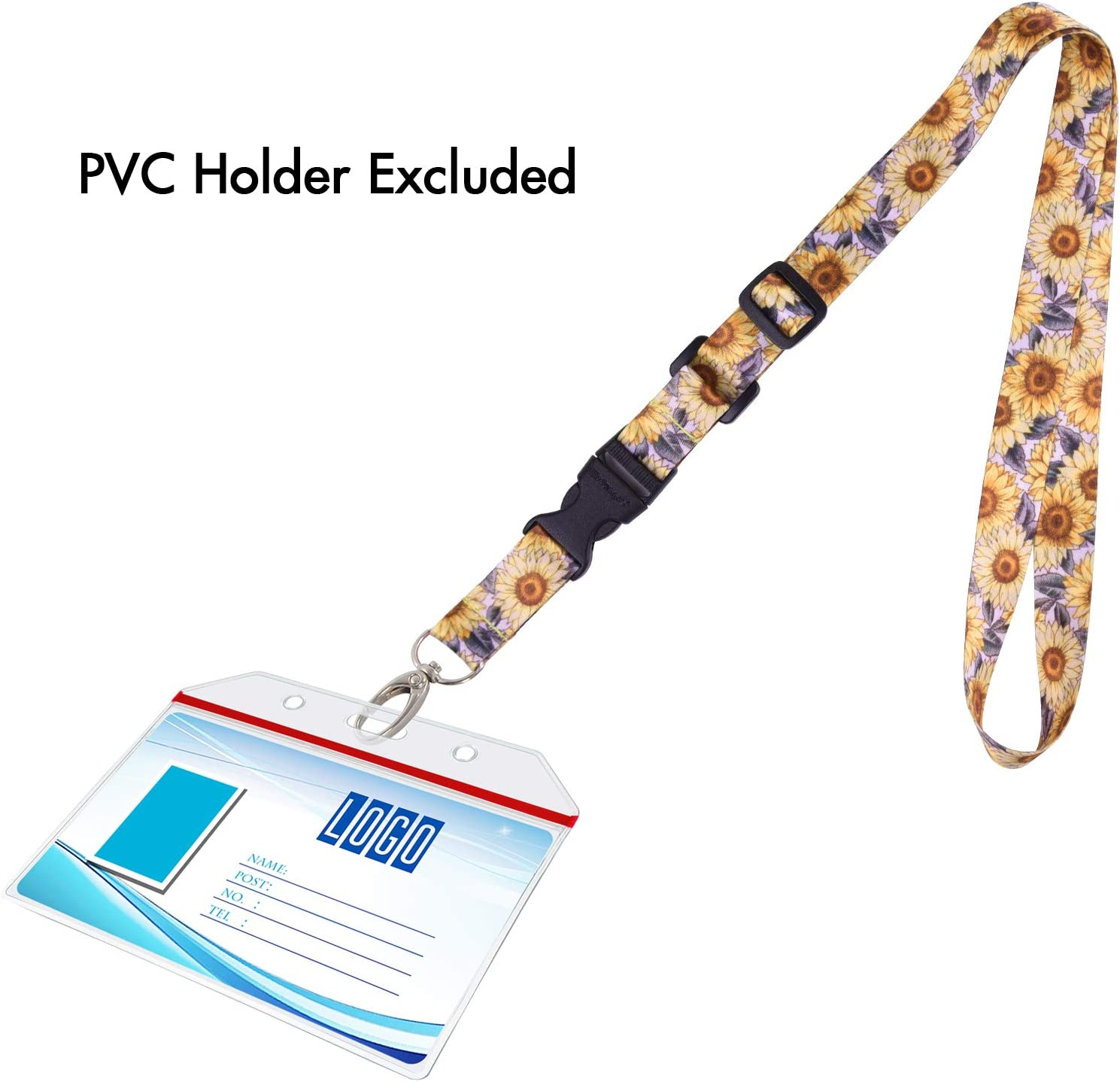 Name Tag Company Badge Holder Polyester Neck Strap with Oval Clasp and Detachable Buckle for ID Wisdompro Adjustable Length Office Lanyard Black and Powder Blue and Keys