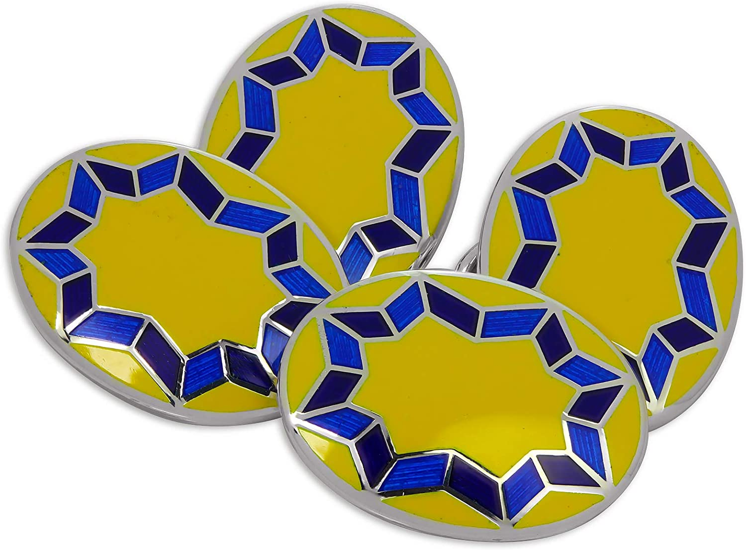 Sterling Silver Yellow /& Blue Enamel Star Burst Double-Sided Oval Cufflinks