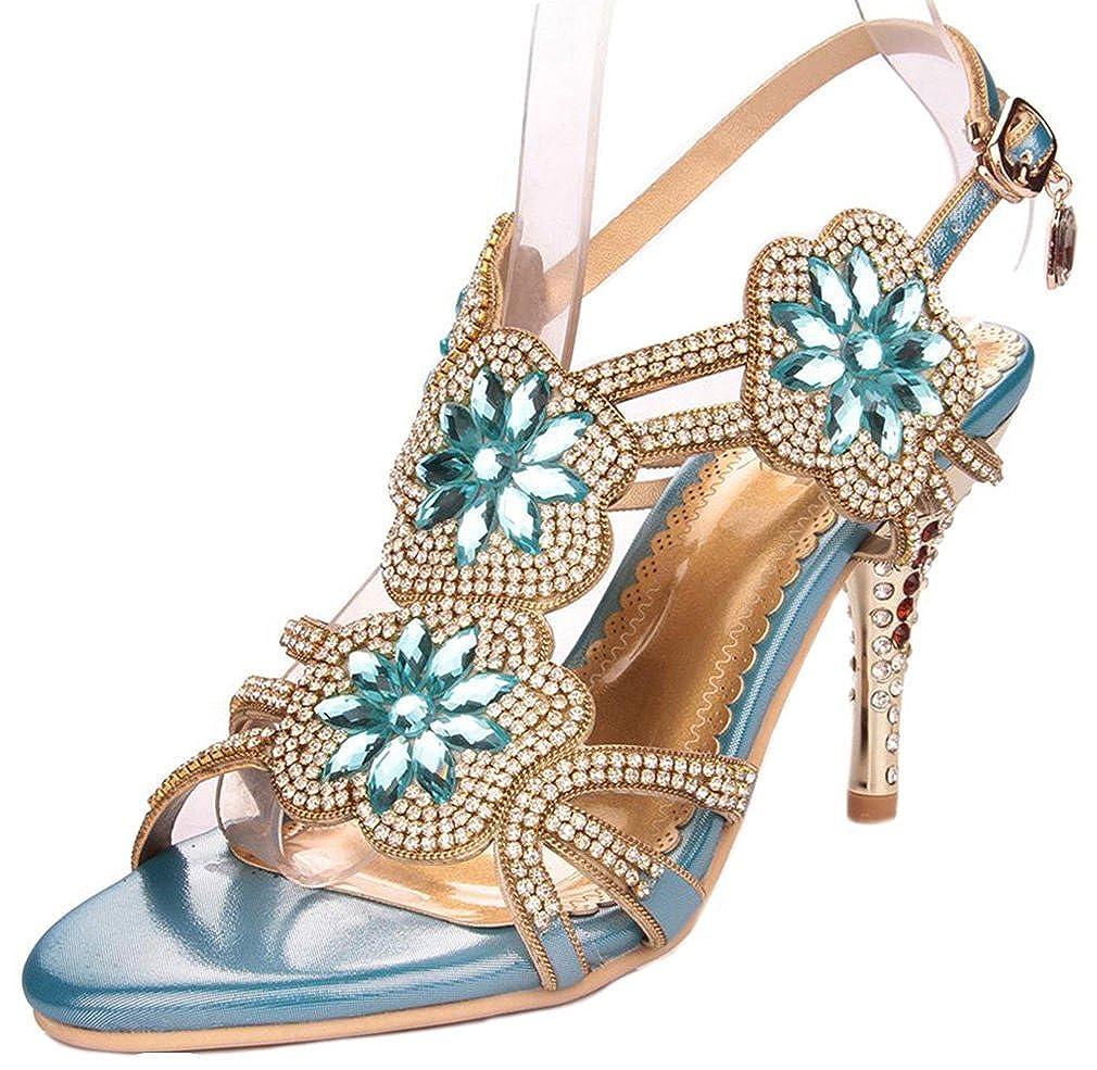 Women's Glitter Faux Jewel Blue Rosette Strappy High-Heel Dress Sandals - DeluxeAdultCostumes.com