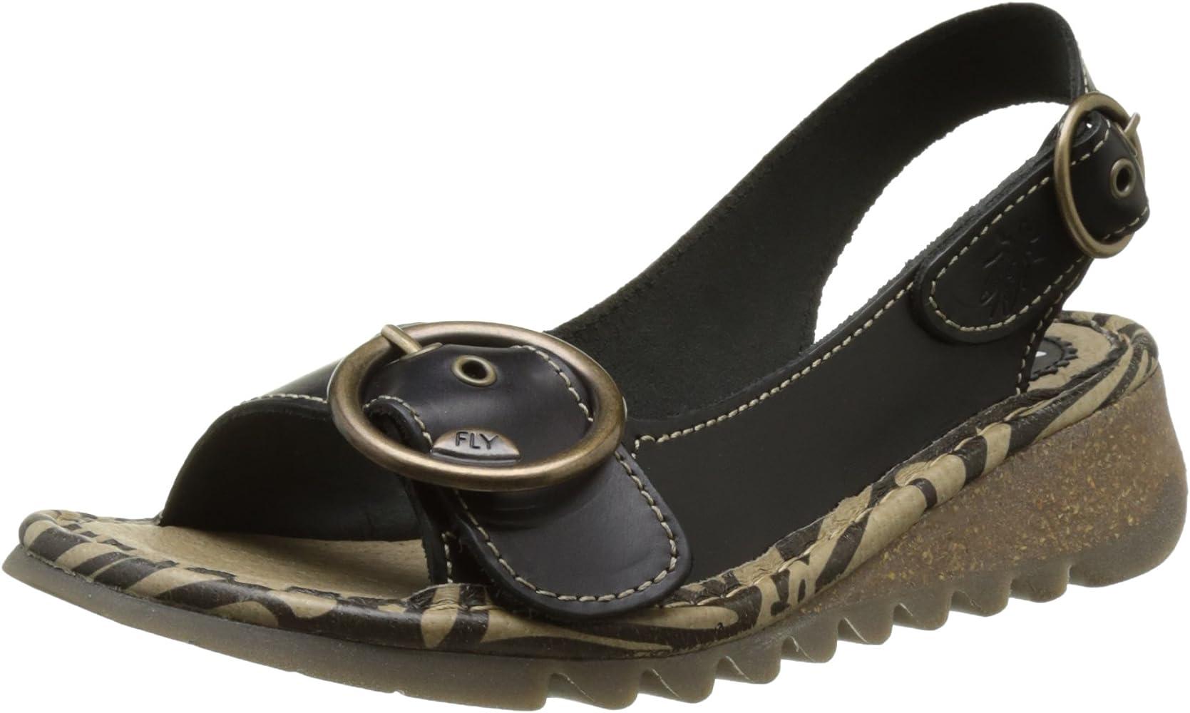 3af47635307ab Fly London Women's TRAM723FLY Sling Back Sandals, Black 000, 2.5 UK 35 EU