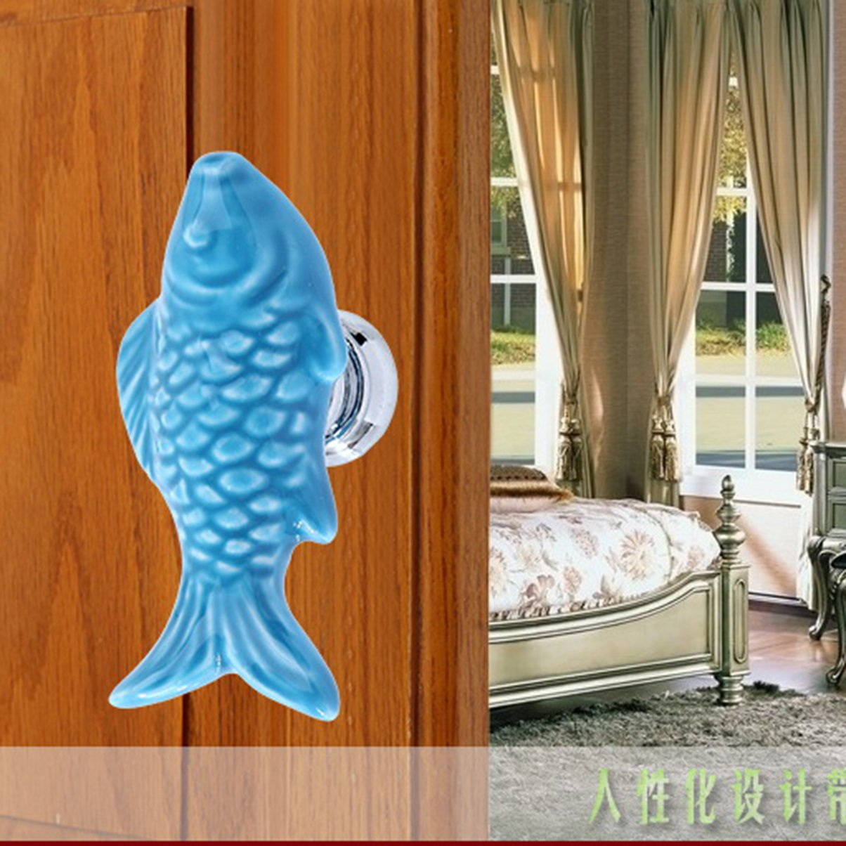 Carp Fish Shape Door Drawer Bin Handle Pull Knob Hardware Blue Generic
