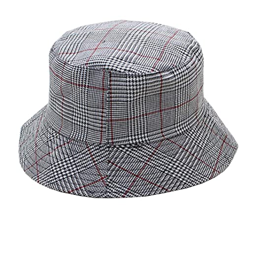 4297ca37683e5 Reversible Japanese Style Plaid Fisherman Bucket Hats Packable (Grey ...