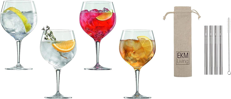 Special Glasses 360 ml 4er Set EKM Living Edelstahl Strohhalme kurz Kristallglas Kupfer 4-teiliges Gin Tonic-Gl/äser-Set Spiegelau /& Nachtmann 4390179