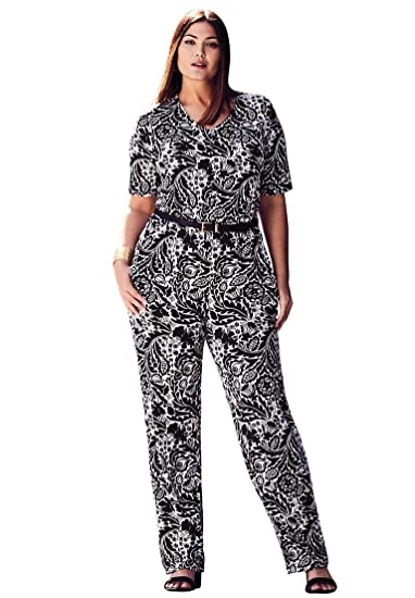 Jessica London Womens Plus Size Elbow Sleeve Jumpsuit Black White