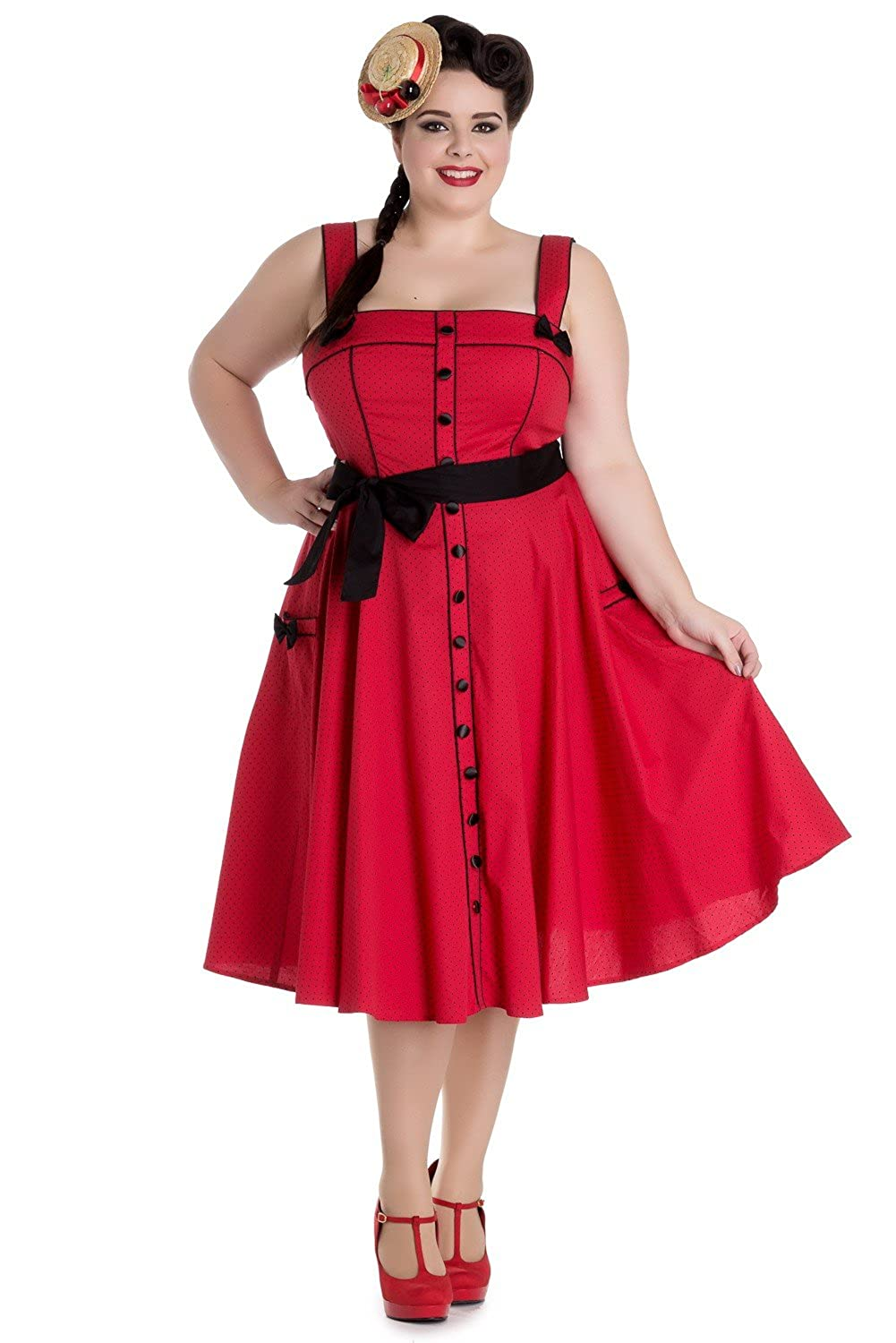 1950s Plus Size Dresses, Clothing and Costumes Hell Bunny Martie Rockabilly Retro 1950s Dress $29.99 AT vintagedancer.com