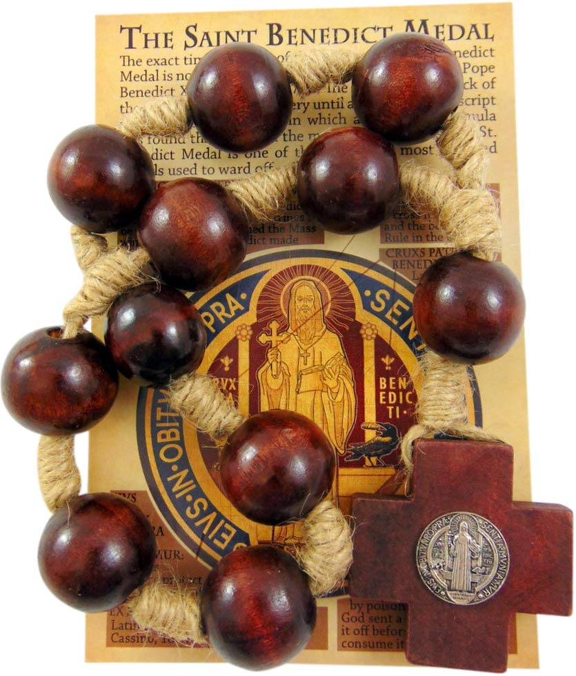 Westmon Works St Benedict Door Knob Rosary with Wooden Beads and Saint Card Gift Set