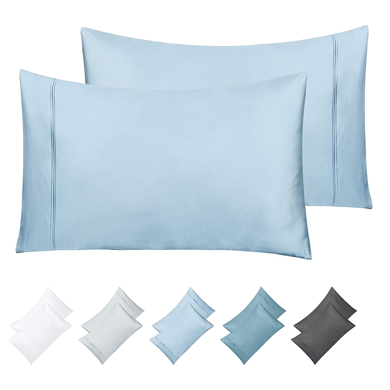 Breathable Silky Sateen Weave Poly Cotton Fits Mattress Upto 18 Deep Pocket 700-Thread-Count Cotton Blend Sheet Pure White Queen Sheets Set 4-Piece Best Bedding Sheets For Bed on