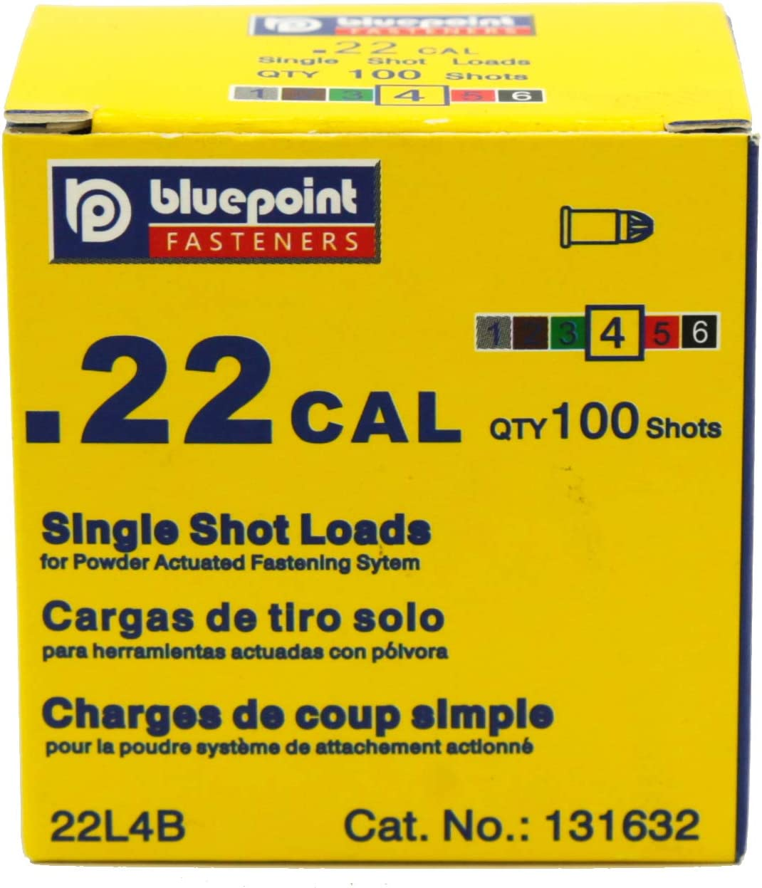 Item# 22SL4B. 100 - Count BLUEPOINT .22 Cal YELLOW Straight Wall Single Shot Powder Load for special powder actuated tools,