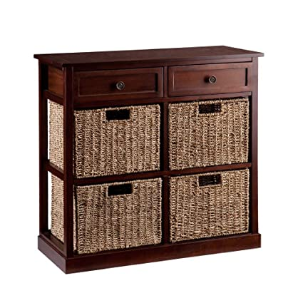 4 Basket Kenton Storage Chest In Mahogany Finish