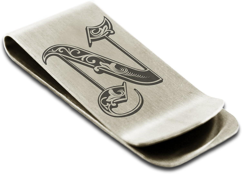 Acier Inoxydable Lettre N Initiale Royal Porte-Cartes de cr/édit avec Pince /à Billets Monogramme grav/é
