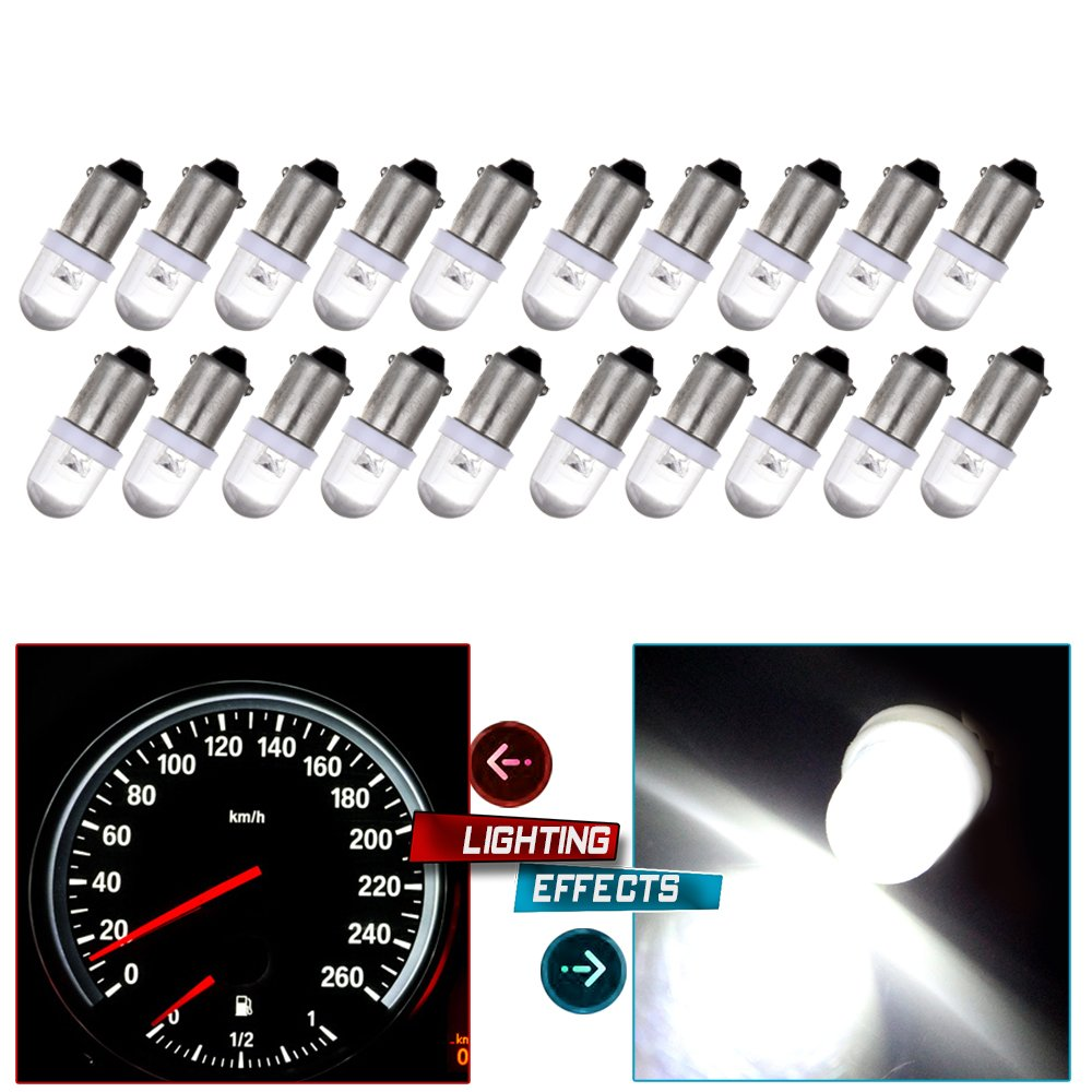cciyu 20X BA9S Xenon White LED Lamp Instrument Cluster Gauge Dash Light Bulbs Bayonet Replacement fit for 1956-1976 ford Dashboard Gauge Speedometer Odometer Map light 53 53X 57 216 293 363 3886X