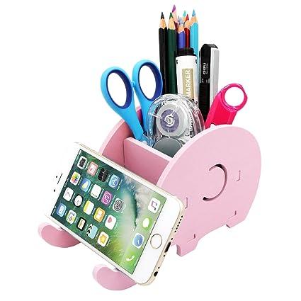 new concept cdec8 12318 Cell Phone Stand, Creative Elephant Phone Stand Tablet Desk Bracket,Pencil  Holder,Desk Supplies Organizer,Desk Storage Rack (Pink)