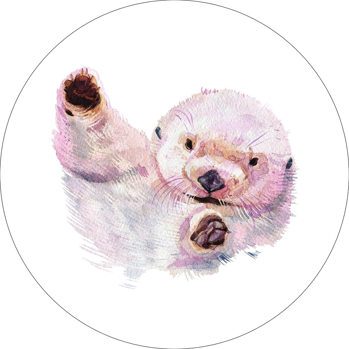 Sea Otter Home Wall Shelf Decor Animal Decorations Watercolor Round Sign - 12 Inch, Metal