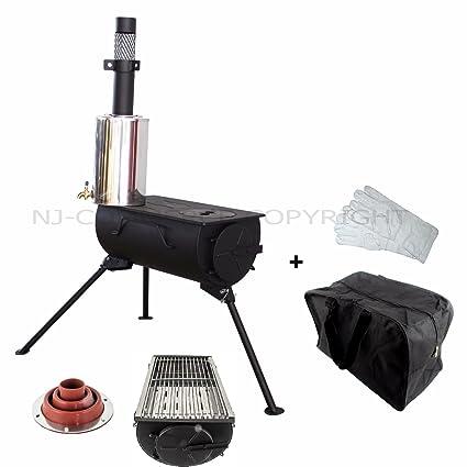 NJ Parrilla para estufa de leña para acampada + calentador de agua de 2 litros y