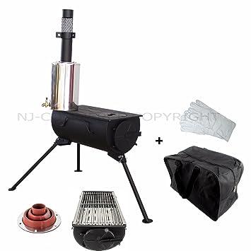 NJ Parrilla Portátil para Estufa de Leña para Acampada + Kit Intermitente y Calentador de Agua de 3 l: Amazon.es: Deportes y aire libre