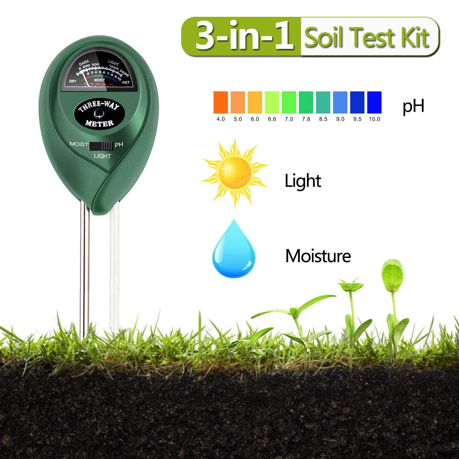 EONLION Goldpar Soil pH Meter, 3 in 1 Soil Test Kit for Moisture, Light & pH or Acidity, Gardening Tools for Home, Lawn, Garden, Plants, Farm, Indoor Outdoor Plant Care Soil Tester (No Battery Needed) Gardening Tools for Garden and Home