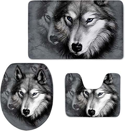 Coloranimal Washable Bathroom Rug Sets 3 Piece 3D Wolf Printed Toilet Lid Cover Contour Bath Mat Welcome Doormat