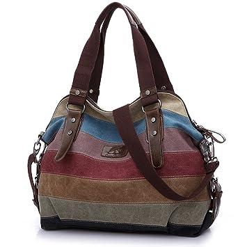 6ed2d4c84 ENKNIGHT Bolso Bandolera Bolsos de Mujer Multicolor Rayas Lona Bolso Hombro  Bolso Totalizador (38*18*32cm): Amazon.es: Equipaje