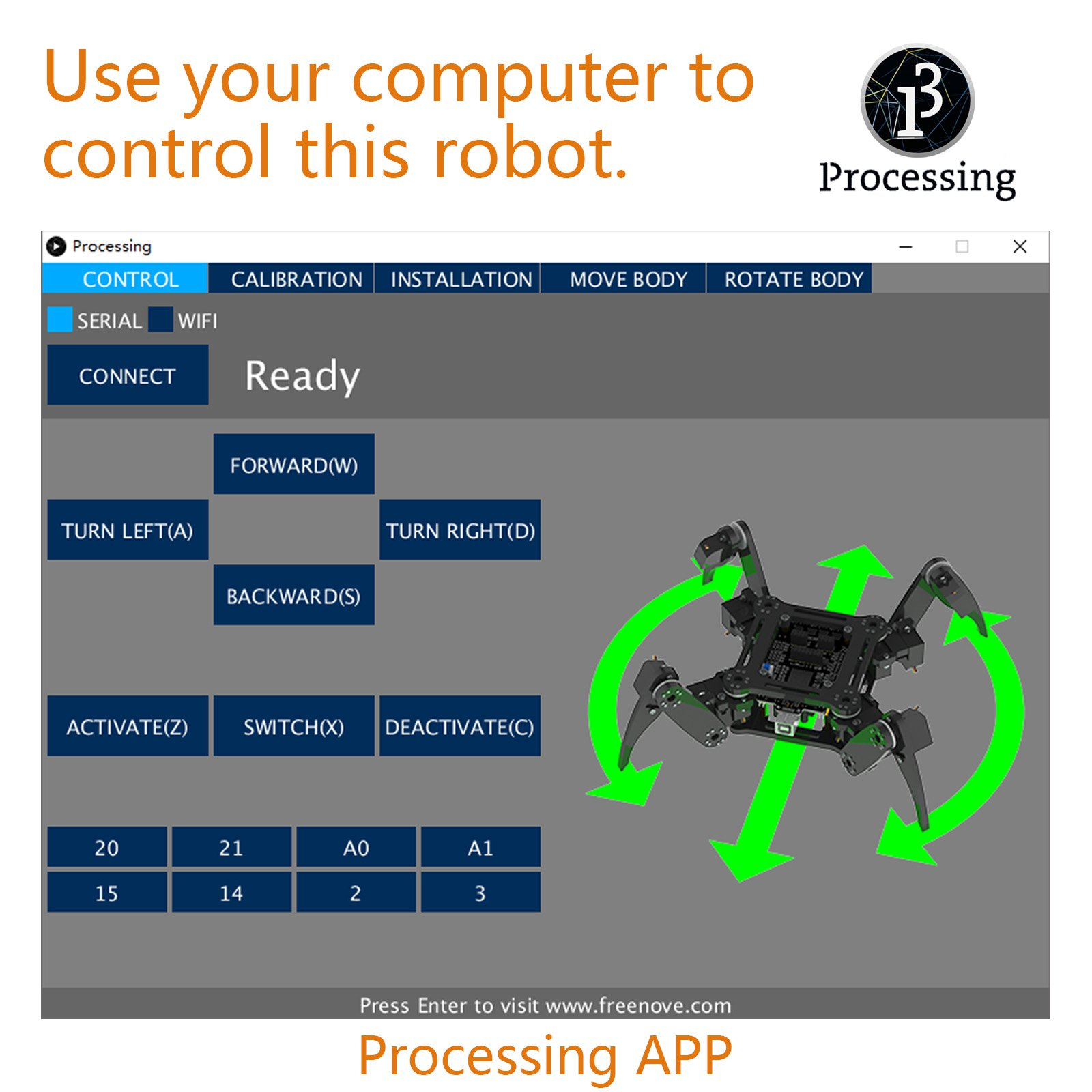 Freenove Quadruped Robot Kit | Arduino Robot Project | Spider Walking Crawling 4 Legged | Detailed Tutorial | Android APP | WiFi Wireless 2.4G Servo by Freenove (Image #5)