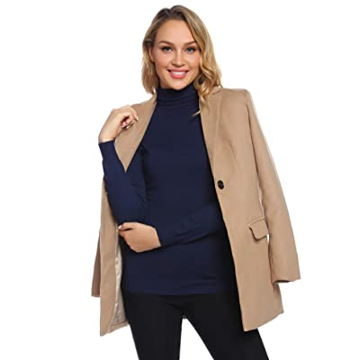Abollria Women Peacoat Winter Outdoor Wool Blended Classic Pea Trench Coats Jacket: Clothing