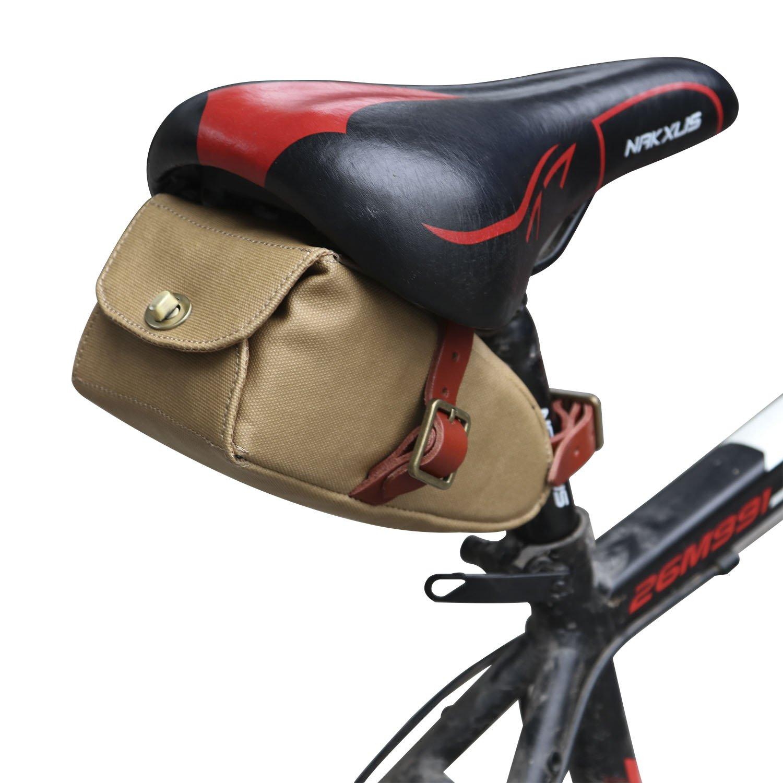 tourbon Canvas y Piel correa de bolsa de sillín de bicicleta bicicleta asiento ajustable con bolsa de transporte