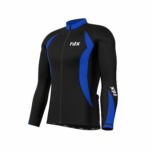 FDX Mens Cycling Jersey Full sleeve Winter Thermal Cold Wear Fleece Top Bike racing team
