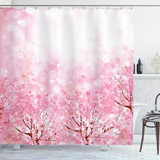 Fabric Bathroom Decor Set with Hooks Japanese Cherry Blossom Sakura Tree Branch Soft Pastel Watercolor Print Coral Light Pink Grey 54 W x 78 L Inches Ambesonne Floral Stall Shower Curtain
