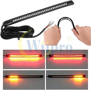 Flexible Motorcycle 48 LED Strip Rear Tail Brake Stop Turn Signal Light Lamp HQ