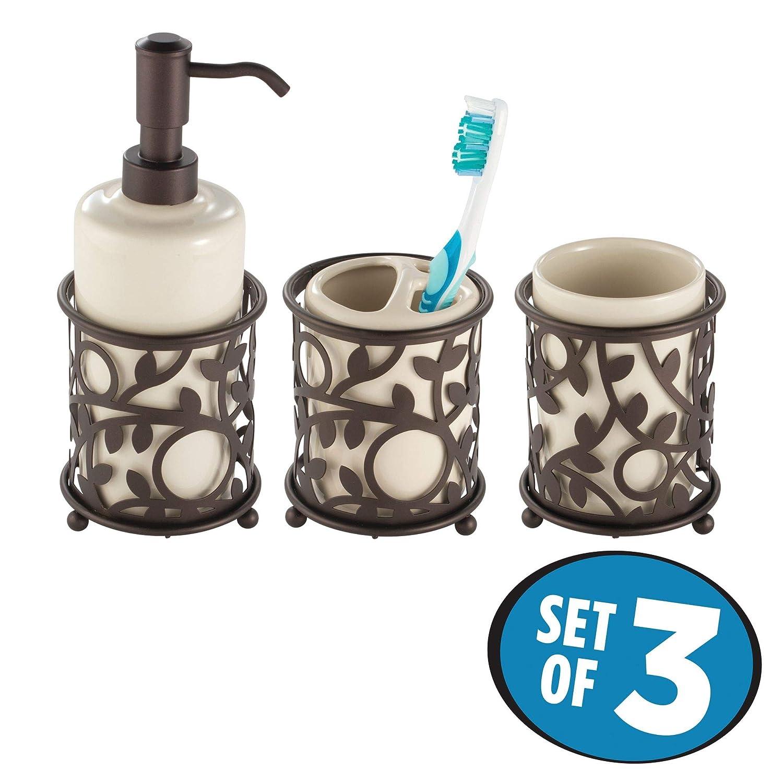 mDesign Juego de 3 accesorios de baño decorativos - Set de baño formado por dosificador de jabón, portacepillos de dientes y vaso - Conjunto de baño de ...