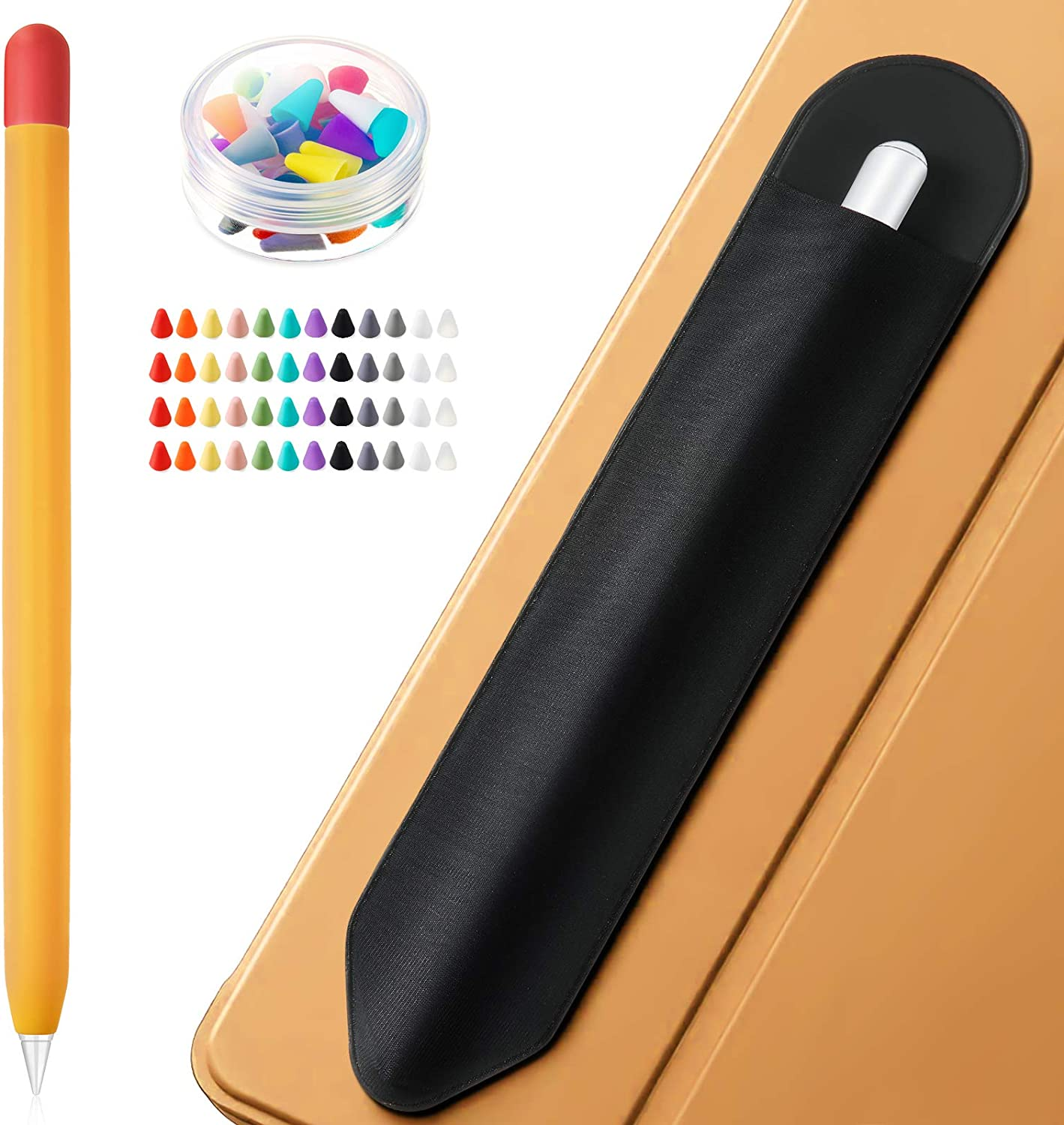 Pencil Holder Sticker Compatible with Apple Pencil 1st and 2nd Generation, Elastic Pocket Protected for Stylus Pens 48 Silicone Nibs Caps Pencil Cover Compatible with Apple Pencil 1st 2nd Generation